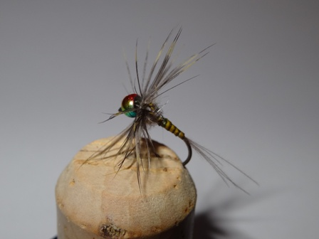 Rainbow beaded nymph. A great hit with the grayling.